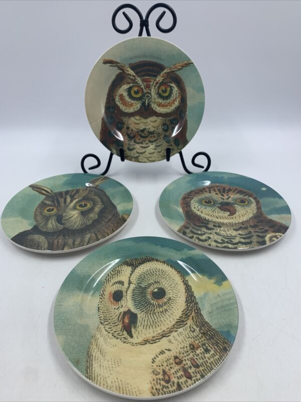 John Derian Whoos Hungry Owl Melamine Appetizer Plate Set/4 Threshold Target NEW