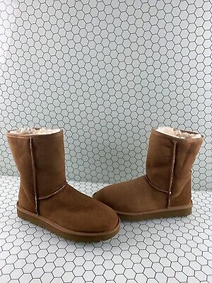UGG Classic Short II Chestnut Suede Fur Lined Pull On Ankle Boots Women's Size 9