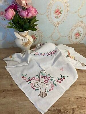 Vintage Square Floral Embroidered Linen Table Cloth - 104 x 104cm