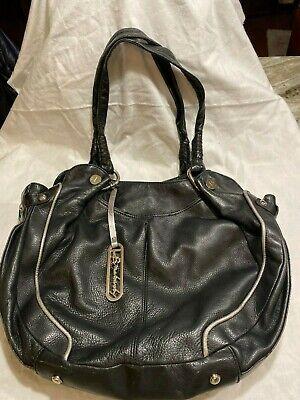 Large Black Leather Handbag B Makowsky with Animal Print Inside