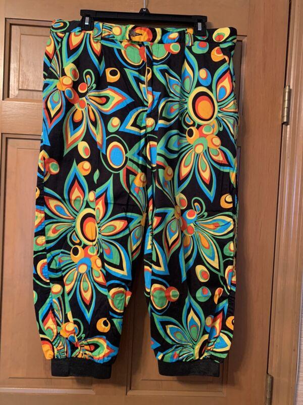Loudmouth Womens Golf Pants Capri Cuffs Multicolored L Stretch Adjustable Waist
