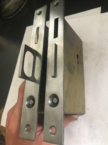 SET PAIR ANTIQUE ARTS CRAFT DECO VICTORIAN STEEL POCKET BARN DOOR MORTISE LOCK
