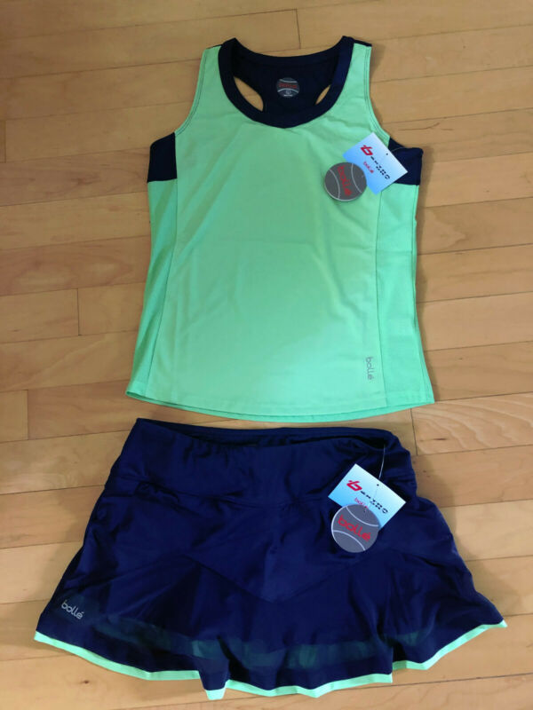 New Bolle Tennis Top and Skirt Set Dark Blue/Neon Lime Green Size L