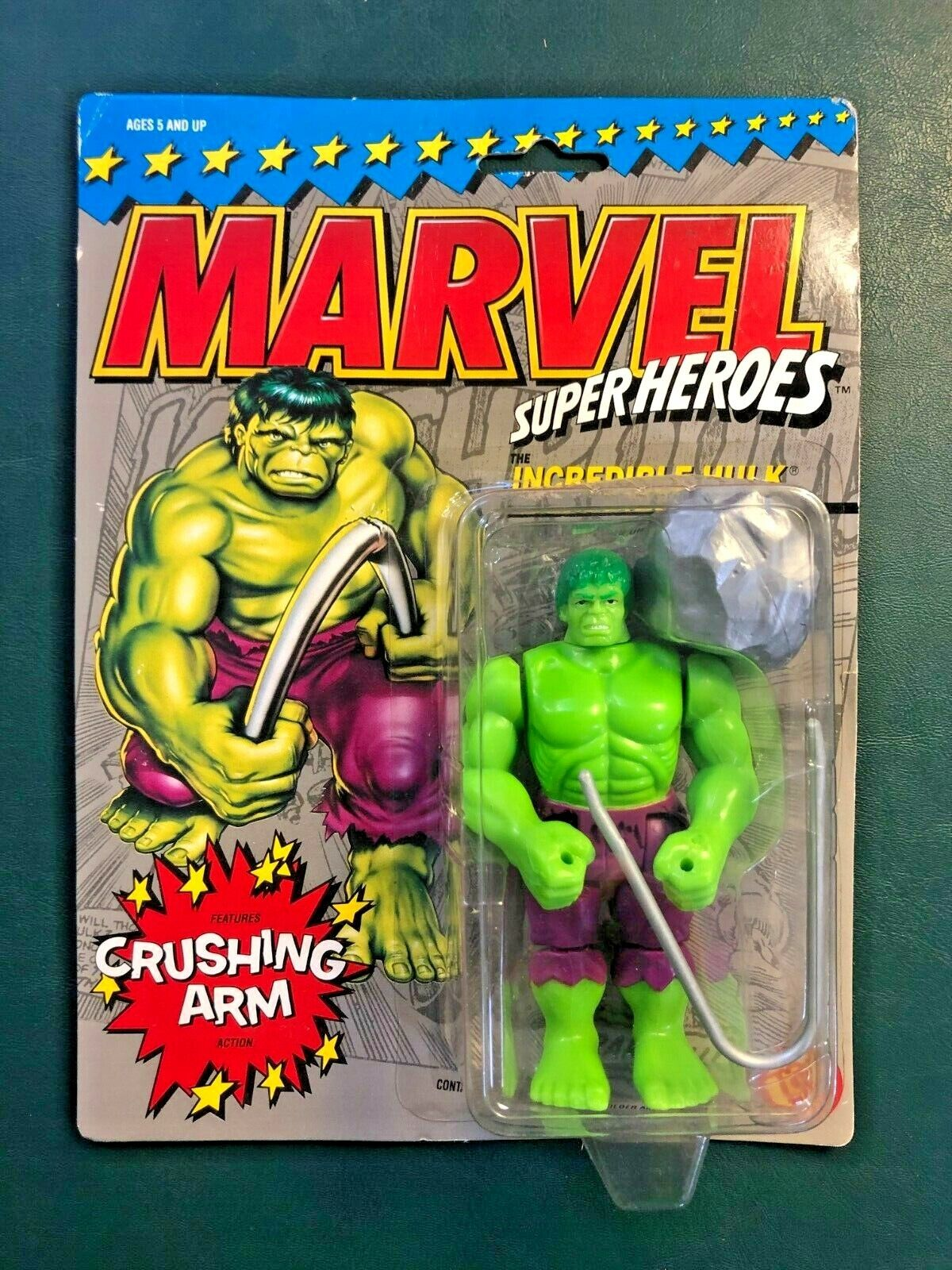 1990 Toy Biz Marvel Super Heroes INCREDIBLE HULK With Crushing Arm Moc - $29.99
