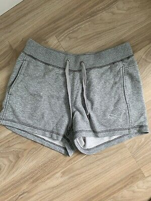 Ladies Short Puma Gym Sports Cotton Shorts Size 10 Grey
