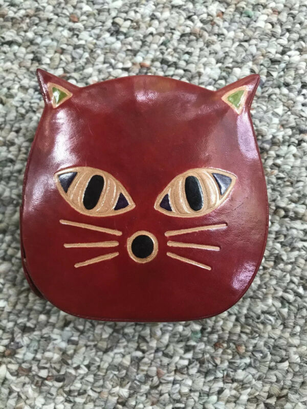 Handcrafted Leather Painted Kitty Bank