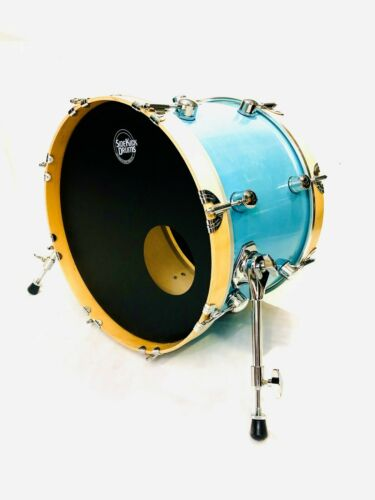 """Side Kick Drums 18""""x12"""" Travel Bass Drum-Vintage Blue Maple Shell"""
