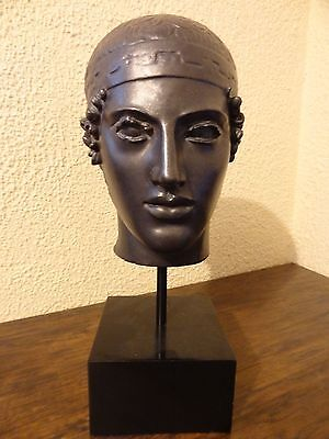 Heniokhos Charioteer of Delphi Head Bust SculpturePedistal Stand Greek Roman god
