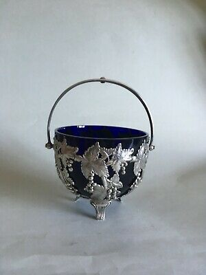 QUALITY ANTIQUE SILVER PLATED LINED SUGAR BOWL