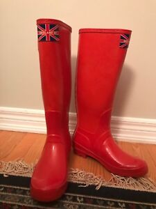 Red rain boots worn once.  Women's size 9.