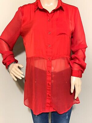 Free People Red Sheer Button Down Tunic Size Small Womens Top Long Sleeve