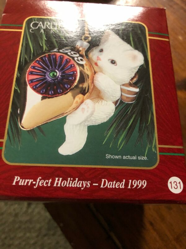 CARLTON Cards 1999 PURR-FECT HOLIDAYS Perfect White Cat CHRISTMAS ORNAMENT VTG