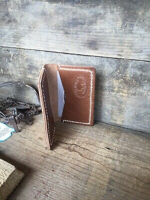 Leather Business Card Holder Credit Card Hand Stitched Two Pockets Eu