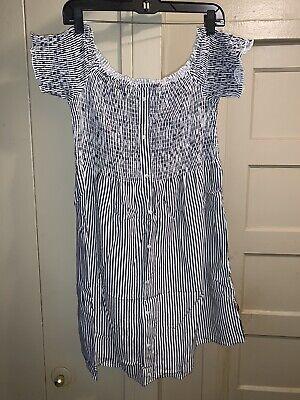 NWT Women's Abercrombie & Fitch Striped Smocked Dress Sz Large/L