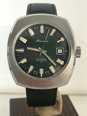Memoria 25 Jewels Swiss-Made Gents Vintage Mechanical Watch - Green Face