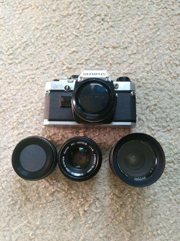 "Olympus OM10 w Olympus 1:1.8/50mm & 1:2.8/28mm & Auto 2x Tele-Converter ""CLEANED"