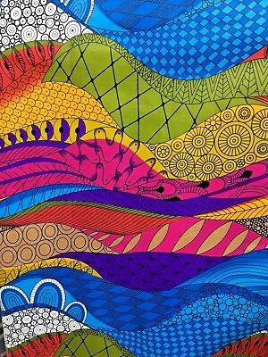 - BLUE PINK MULTICOLOR African Wax Print 100% Cotton Fabric (44 in.) Sold BTY