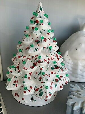 Hand Painted Ceramic Light Up CHRISTMAS TREE PEPPERMINT Crystal Glazed