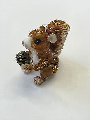 Bejeweled Trinket Box - BEJEWELED SQUIRREL STATUE TRINKET JEWELRY BOX