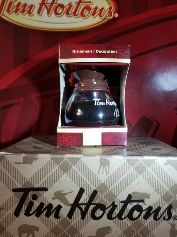 Tim Hortons Ornament Coffee Pot Christmas Box Fresh Pot Rare 2010