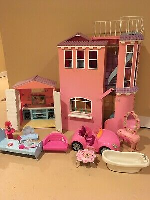 Vintage Mattel Barbie House 2006 with Barbie Car and Furniture