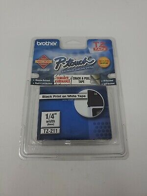 Brother P Touch Tz-211 Laminated Tape Cartridge 14 Width Black Print On White