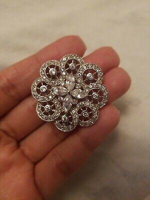NEW Sterling Silver 925 CZ Flower Womens Bridal Pin Brooch Pendant  Sterling Silver Womens Brooch