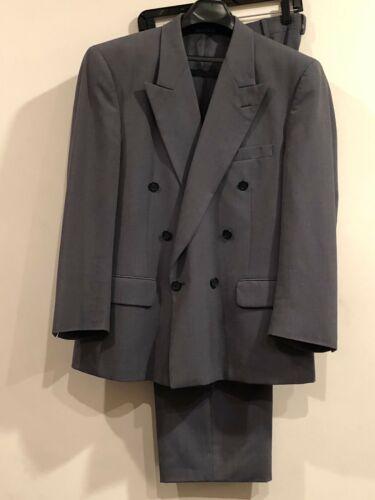 Vintage Cavalier Double Breasted 100% Wool Gray Men