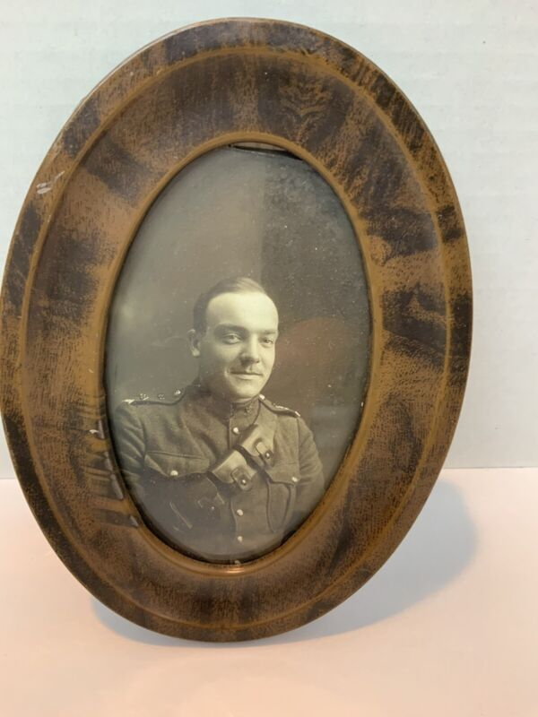 WWI Army Soldier Photo Postcard In Frame