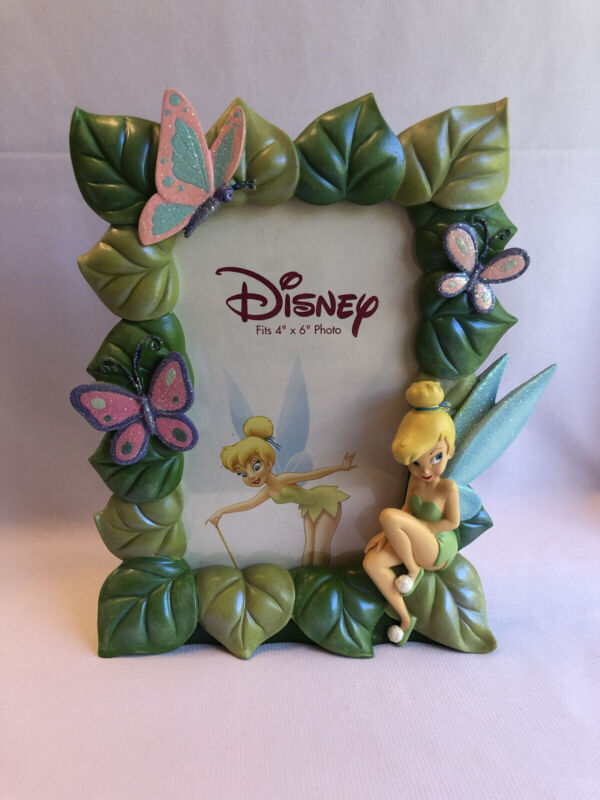 Disney 3D Tinkerbell Tink Fairy Leaves Tabletop Photo Picture Frame Holds 4x6