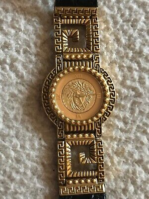Gianni Versace Medusa Watch Quartz Black Gold Plated G20