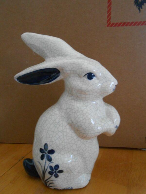 """The Potting Shed Dedham Cobalt Blue Pottery Bunny Rabbit Crackle Glaze 7 1/4"""""""