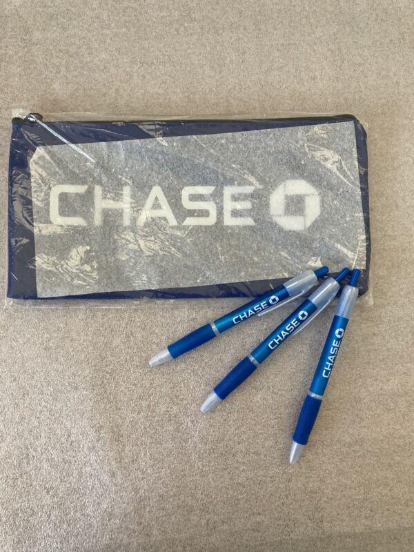 NEW Chase Bank Money Deposit Zipper Bank Bag & 3 Chase Bank Pens!