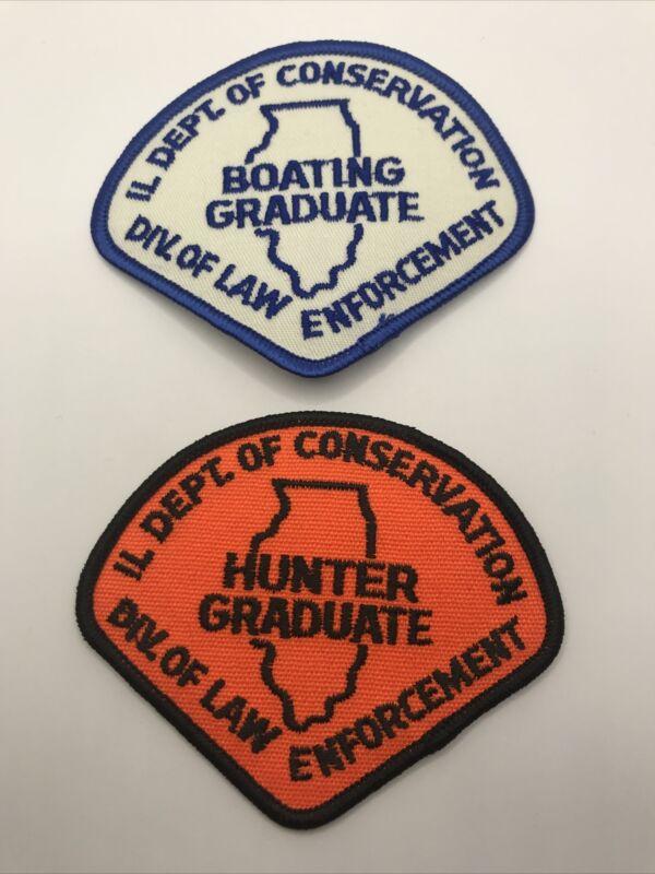 Illinois Dept. Of Conservation Boating And Hunter Graduate Patch Set - Vintage