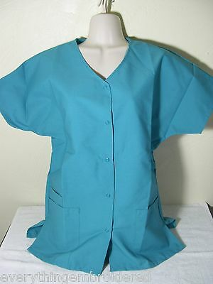 Poly Scrub (PERSONALIZED SCRUB SNAP TOP TEAL POLY/COTTON Sz XS-5X Embroidered w/Your Text)