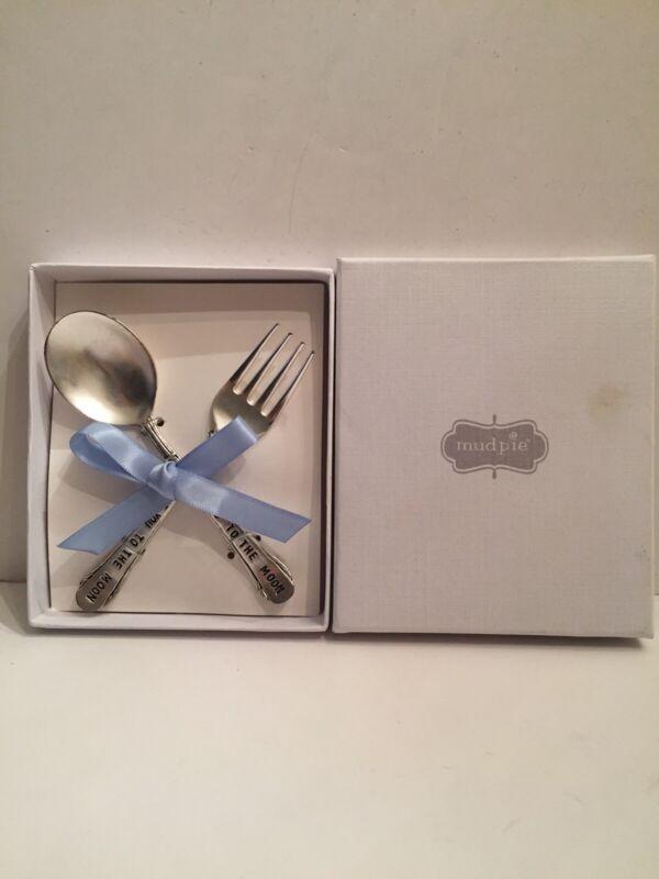 Mud Pie Baby Boy Feeding Set Fork Spoon In Box See Description