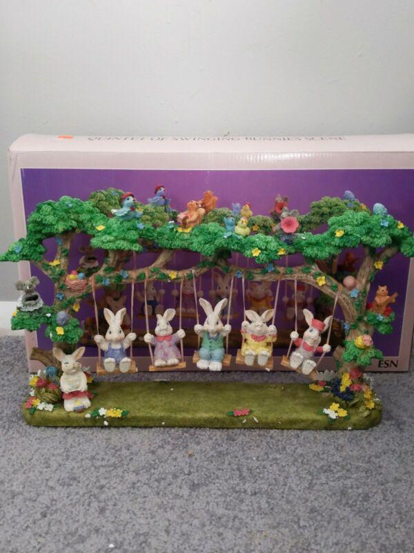 Adorable Jaimy QUINTET OF SWINGING BUNNIES Scene ESN Cute Ceramic Easter decor
