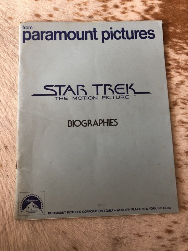 Star Trek The Motion Picture Biographies Press Kit Paramount Pictures 1979