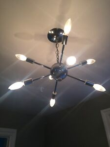 Semi-flush mount Sputnik inspired light fixture