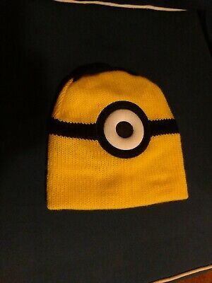 Despicable Me Minions Movie Minion Knit Beanie Cap Hat  Yellow Reversible
