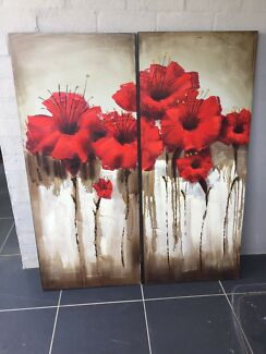 2 x Red Poppy Canvas Print set
