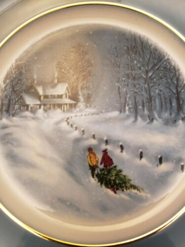 Vintage Avon Christmas Plate Series Third Edition 1976 - Bringing Home the Tree