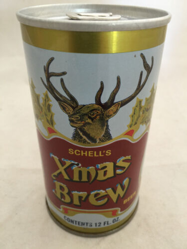 August Schells Brewing Xmas Brew Vintage Christmas Steel Beer Can Bottom Opened