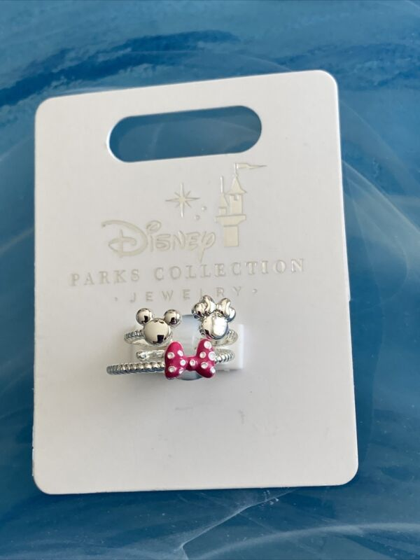 Disney Parks Collection Mickey & Minnie Adjustable 2 Rings Set New