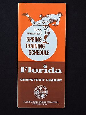 1966 Mlb Spring Training Fold Out Schedule Florida Grapefruit League 16 Teams