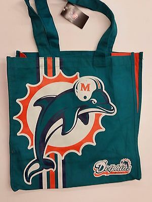 Nfl Miami Dolphins Reusable Canvas Shopping Tote  New