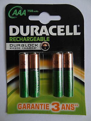 4 piles battery AAA Rechargeable DURACELL Duralock Reste Chargé HR03. Original d'occasion  Mons