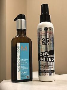 Moroccan Oil Light & Redken One heat protectant +