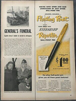 Eversharp Pen~Floating Point Reporter Ball Point Pen~1951 Vintage Print AD A84