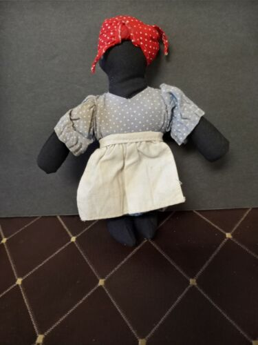 Vintage Folk Art African American Black Americana Rag Doll Handmade 6 inches